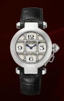 Cartier Pasha 32mm (WG Diamonds/ Silver /Croc)