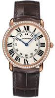 Cartier Ronde Louis Large (RG Diamonds/Silver/Leather)