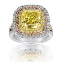 6.15 Ct Fancy Yellow & Pink Diamond Diamond Ring (fycu 4.02ct, Rd 0.67ct, Pink 0.57ct, Fyrd 0.89ct)