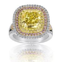 6.15 Ct Fancy Yellow & Pink Diamond Diamond Ring (fycu 4.02ct, Rd 0.67ct, Pink 0.57ct, Fyrd 0.89ct)