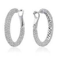5.75 Ct Diamond Hoop Earrings Inside Out (rd 5.75cttw)