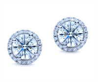 1.53 cttw Round Diamond Earrings In 18k White Gold