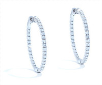 2.30 cttw Diamond Hoop Earrings In 14k White Gold