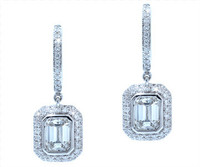 1.67 cttw Emerald Cut Diamond Dangle Earrings In 18k White Gold