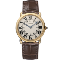Cartier Ronde Louis Large (RG/Silver/Leather)