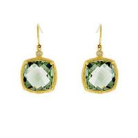 Herco 18k Yellow Gold Lemon Topaz & Diamond Earrings
