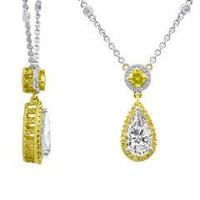 2.5 Ct Fancy Yellow Diamond Necklace (rd 0.21ct, Fy 0.30ct, Fvy 0.26ct, Ps 1.73ct)