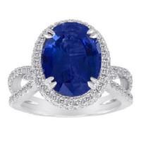 7.66 Ct Tanzanite & Diamond Ring (rd 1.15ct, Tz 6.51ct)