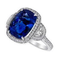 8.11 Ct Tanzanite & Diamond Ring (rd 0.50ct, Hm 0.37ct, Tz 7.64ct)