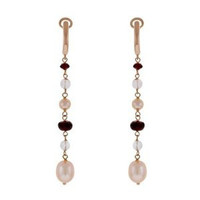 Herco 18k RG Garnet & Pearl Earrings