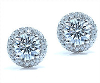 1.37 cttw Diamond Earrings In 18k White Gold