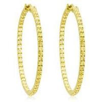 3.50 Ct Yellow Diamond Hoop Earrings Inside Out