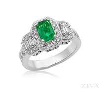 Ziva Emerald 3-Stone Ring with Emerald Cut Diamonds in Pave Halos
