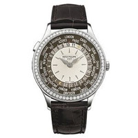 Patek Philippe Ladies World Time (WG- Diamonds/Ivory-Opaline/Leather Strap)