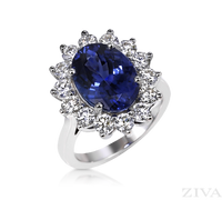 Ziva Large Tanzanite Ring with Diamond Halo