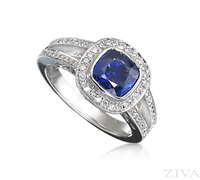 Ziva Cushion Cut Sapphire Ring with Pave Halo & Split Shank