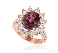 Ziva Pink Tourmaline Ring with Diamond Halo in Rose Gold