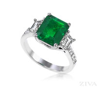 Ziva Emerald Cut Emerald Ring with Trapezoid Diamonds