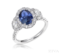 Ziva Sapphire Ring with Moon Cut Diamonds in Diamond Halos