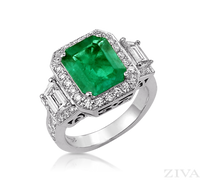 Ziva Large Vintage Emerald Ring