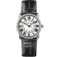 Cartier Ronde Louis Small (WG Diamonds/Silver/Leather)