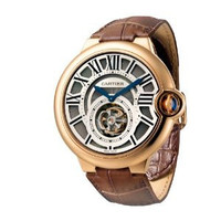 Cartier Ballon Bleu Flying Tourbillon (RG/Silver/ Leather)