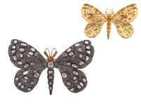 4.27 ct Rose Cut Diamond Butterfly-Shaped Brooch /Pendant