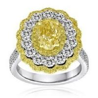 3.6 Ct Fancy Diamond Ring (rd 1.75ct, Fyrd 0.82ct, Fyov 1.03ct)