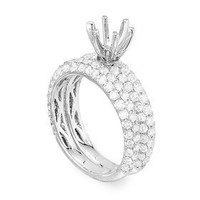 2.83 cttw Micro-pave Two-Piece Diamond Engagement Ring Setting