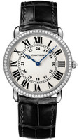 Cartier Ronde Louis Large (WG Diamonds/Silver/Leather)