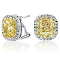 3.67 Cttw Diamond Stud Earrings (fy 3.05ct, Rd 0.34ct, Fy 0.24ct)
