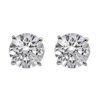 1 Ctw Diamond Stud Earrings Gh/si1-si2 14k Wg