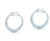 2.27 cttw Diamond Hoop Earrings In 18k White Gold