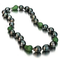 Black Baroque Tahitian Pearl Necklace w/ Tsavorite Baroque Ball