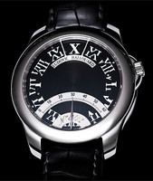 Ludovic Ballouard Half Time Manual Platinum Black Dial Watch MLB HT PBD