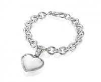 Thistle & Bee Silver Heart Locket Cable Link Bracelet