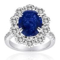 5.41 Ct Sapphire & Diamond Ring (rd 1.98ct, Sp 3.43ct)