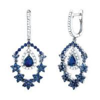 4.10ct 14k W/g Diamond & Blue Sapphire Earring