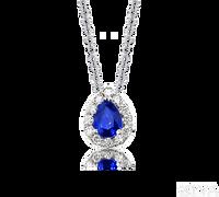 Ziva Pear Sapphire Pendant with Diamond Halo