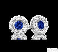 Ziva Sapphire Earrings with Diamond Halo
