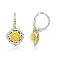 18k 2-tone Gold Diamond Dangling Earrings (rd 0.31cttw, Ydrd 0.26cttw, Ydrad 0.44cttw)