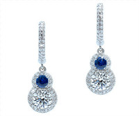 2.04 cttw Round Sapphire & Diamond Earrings In 18k White Gold