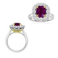 4.86 Ct Ruby & Diamond Ring (rd 1.34ct, Rb 3.52ct)