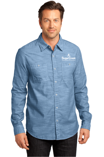 Mens Long Sleeve Washed Woven Shirt