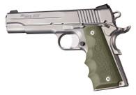 Hogue 1911 Grip-Full-Size-Recoil Absorbing Rubber Pistol Grip-OD Green (45001)