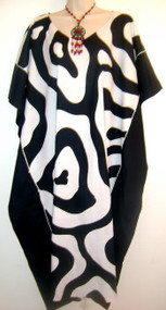 ZEBRA Print Animal Kaftan Caftan Black White Dress Plus One Size Cool Hand-drawn