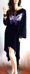 SALE New SWING Handmade Black Purple Butterfly Blouse Tunic Long Top  22 24 26 F
