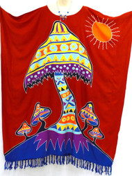 MUSHROOM Designer Hand Drawn Buttersoft Kaftan Plus Dress - Fits many sizes