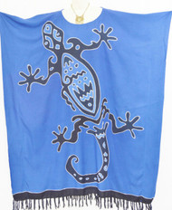 GECKO Lizard Buttersoft Hand Painted Batik Long Kaftan Dress - Freesize