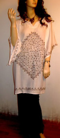 GLAM White Blouse Shirt Embroidered Short Kaftan - UK 16 18 20 22 24 Freesize
